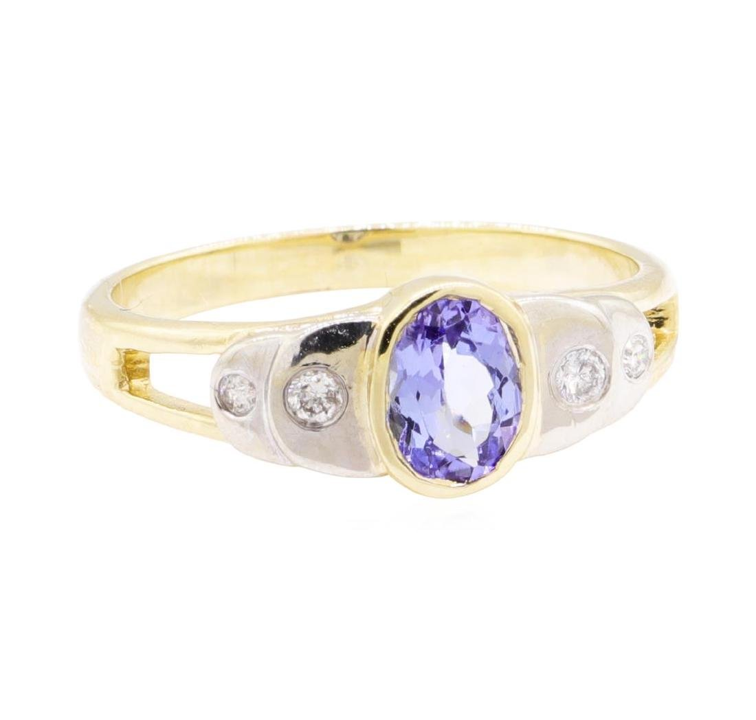 0.86 ctw Tanzanite And Diamond Ring - 14KT Yellow And