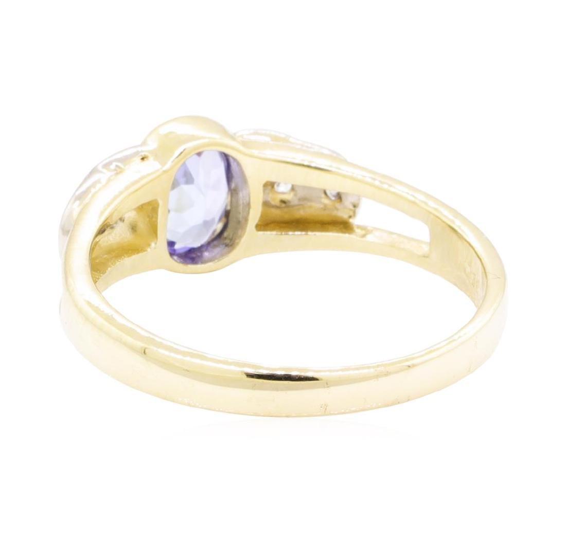 0.86 ctw Tanzanite And Diamond Ring - 14KT Yellow And - 3