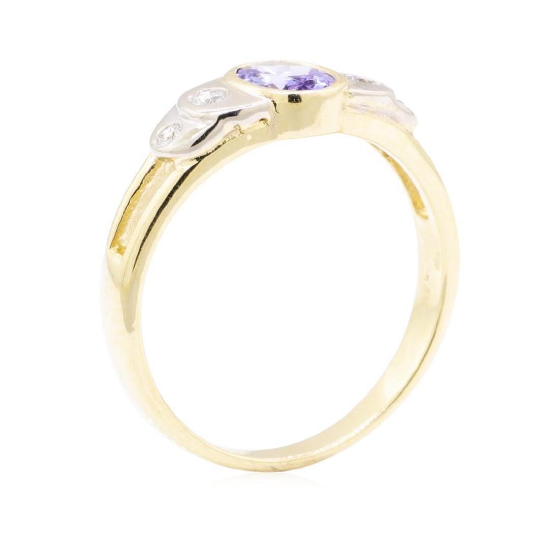 0.86 ctw Tanzanite And Diamond Ring - 14KT Yellow And - 4