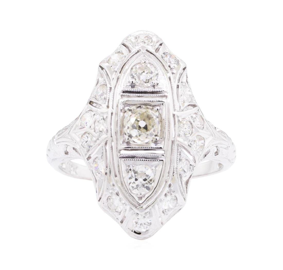 0.95 ctw Diamond Vintage Ring - 18KT White Gold - 2