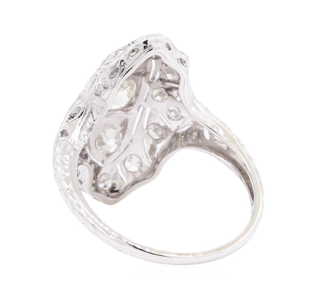 0.95 ctw Diamond Vintage Ring - 18KT White Gold - 3