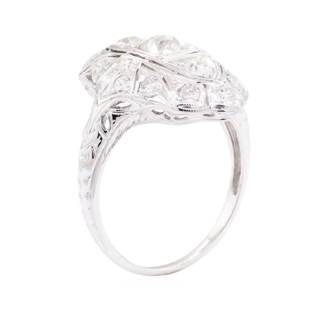 0.95 ctw Diamond Vintage Ring - 18KT White Gold - 4
