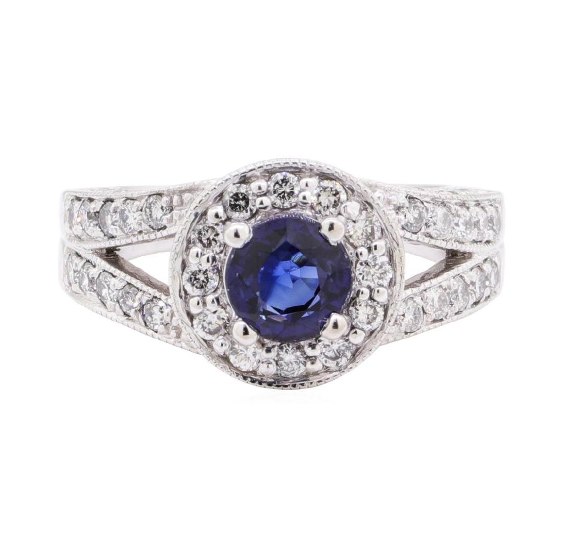1.74 ctw Sapphire And Diamond Ring - 14KT White Gold - 2
