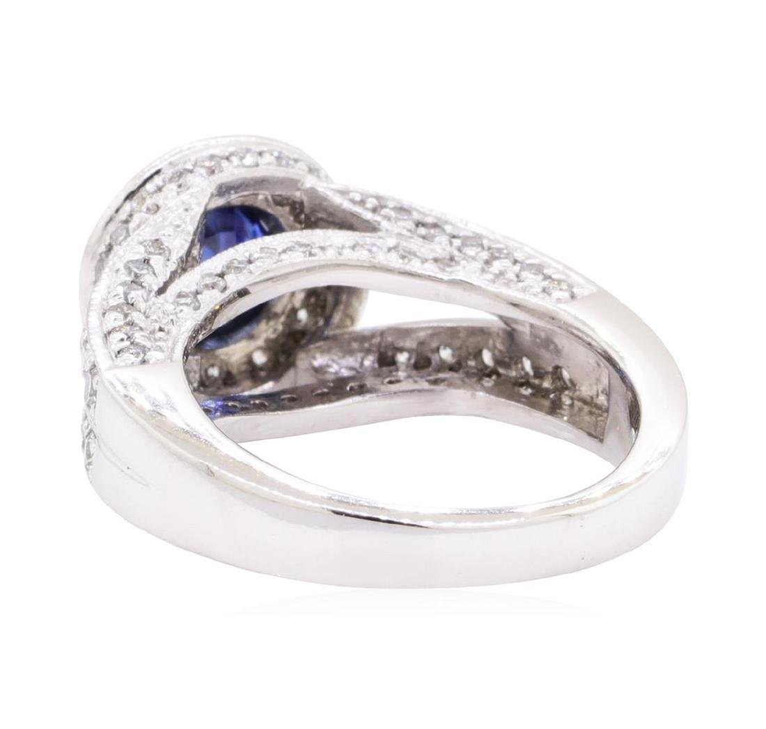 1.74 ctw Sapphire And Diamond Ring - 14KT White Gold - 3