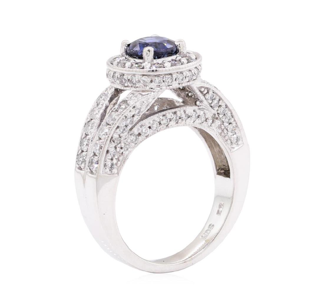 1.74 ctw Sapphire And Diamond Ring - 14KT White Gold - 4