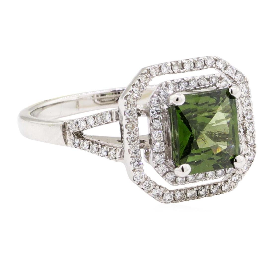 2.42 ctw Green Zircon And Diamond Ring - 18KT White