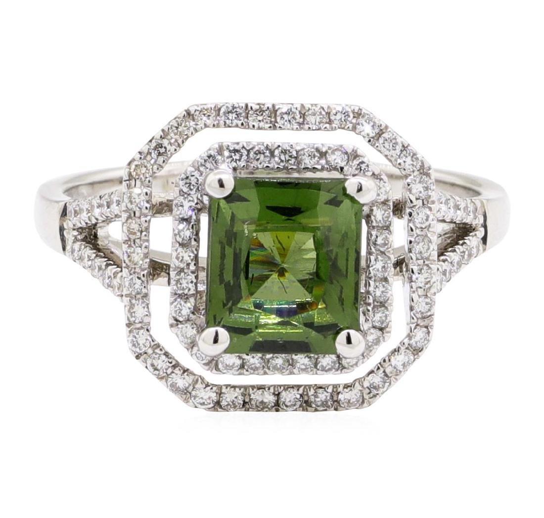 2.42 ctw Green Zircon And Diamond Ring - 18KT White - 2