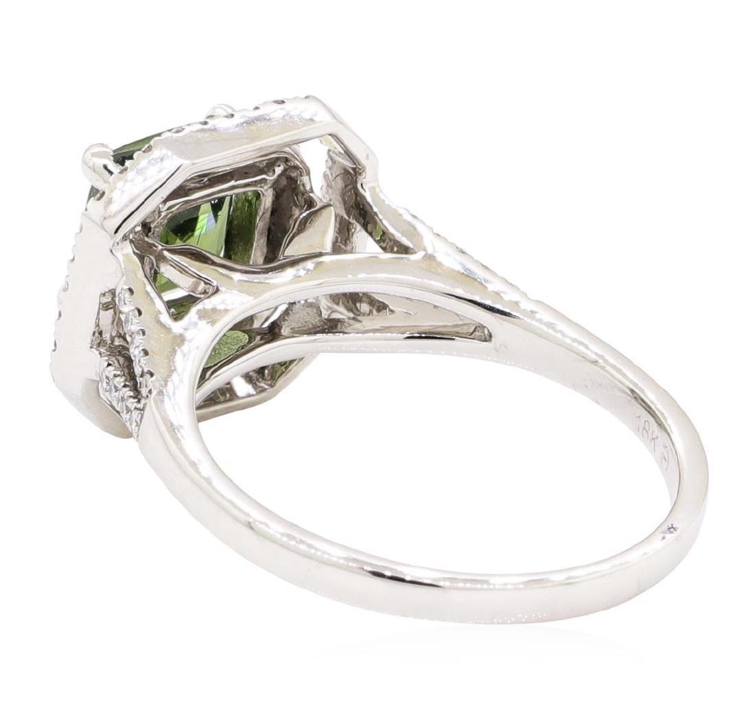2.42 ctw Green Zircon And Diamond Ring - 18KT White - 3