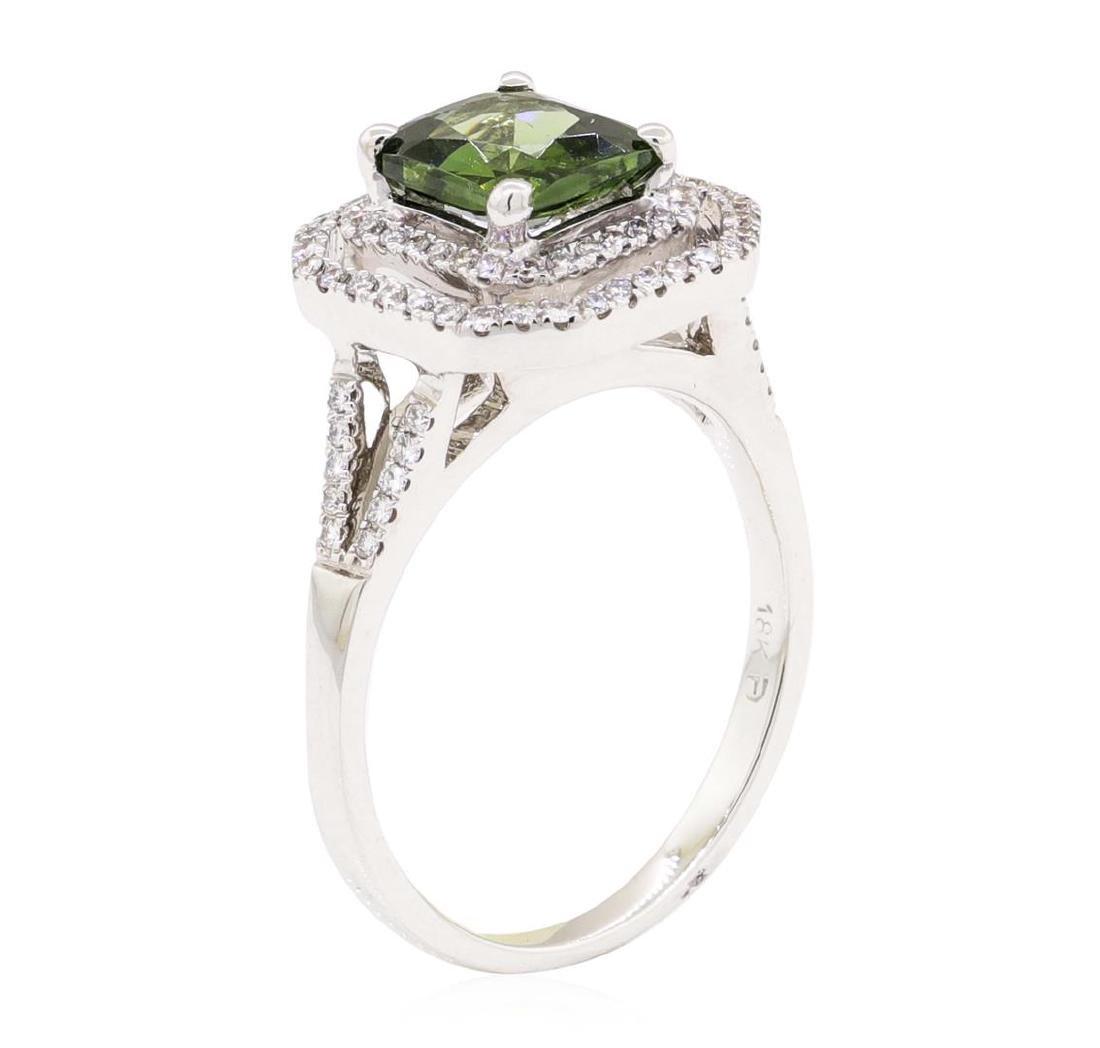 2.42 ctw Green Zircon And Diamond Ring - 18KT White - 4