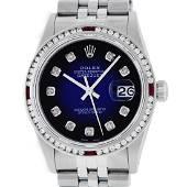 Rolex Mens SS Blue Vignette Diamond & Ruby Channel Set