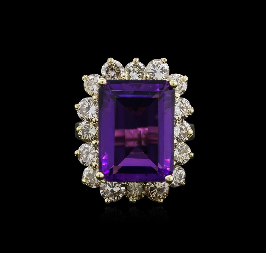 14KT Yellow Gold 10.53 ctw Amethyst and Diamond Ring - 2