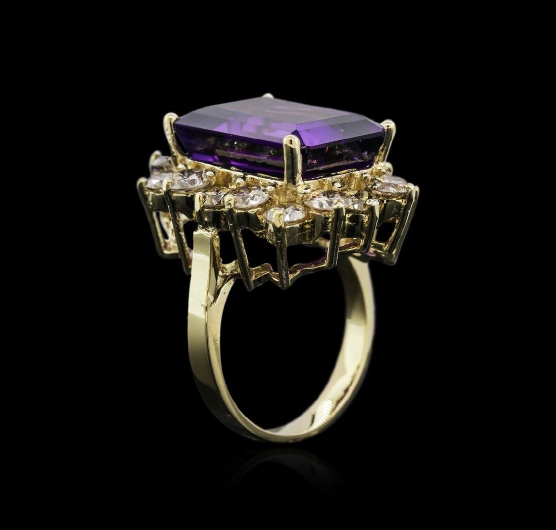 14KT Yellow Gold 10.53 ctw Amethyst and Diamond Ring - 3