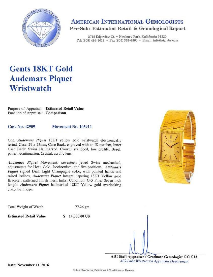 Audemars Piguet 18KT Yellow Gold Men's Watch - 5