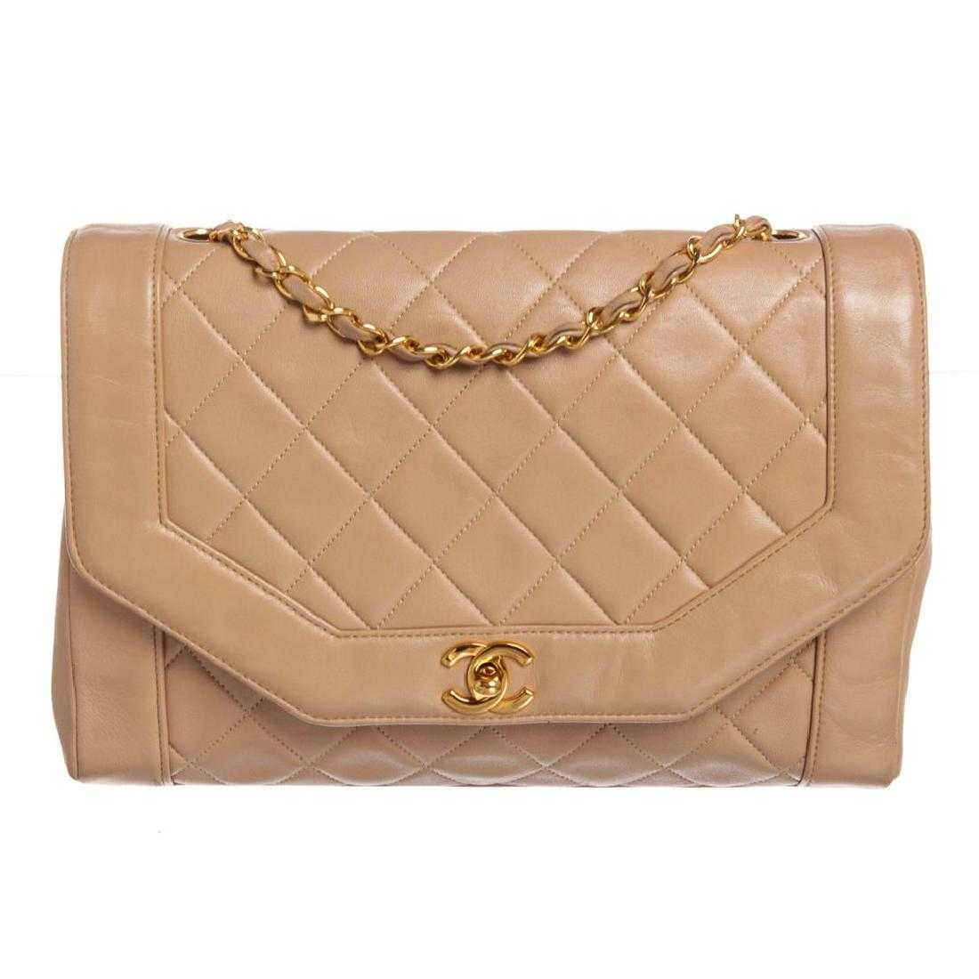 8f8b9239feb8c4 Chanel Beige Lambskin Leather Quilted Large Flap Bag