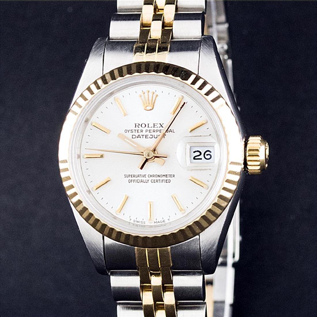 Rolex Ladies 2 Tone 14K White Index Datejust Wristwatch