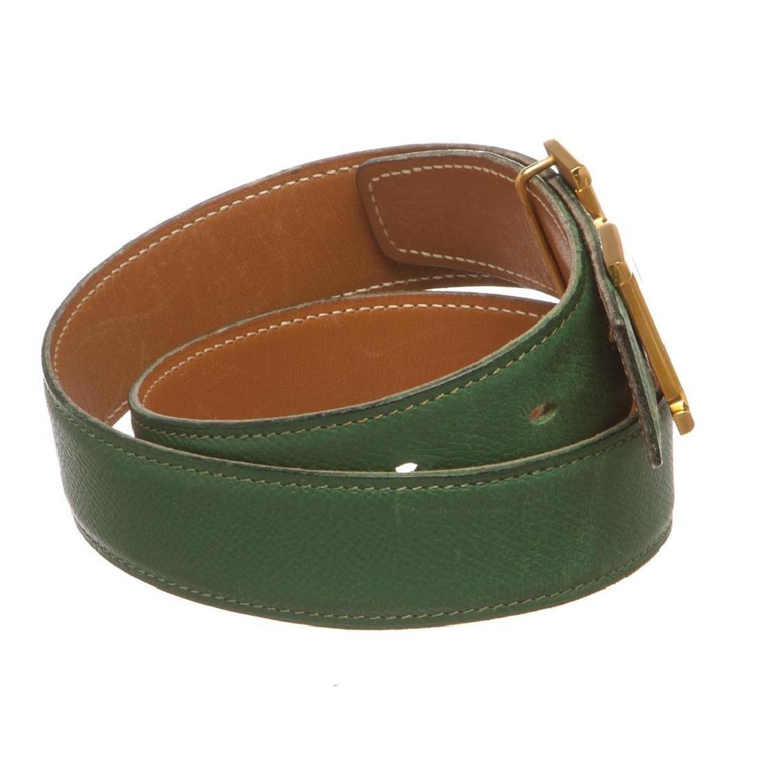 Hermes Green Leather Reversible Constance H Belt 60 - 3