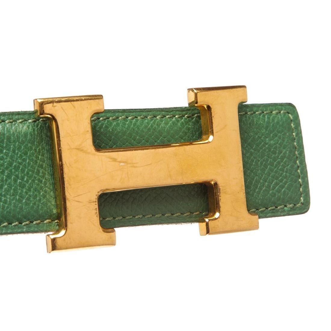 Hermes Green Leather Reversible Constance H Belt 60 - 6