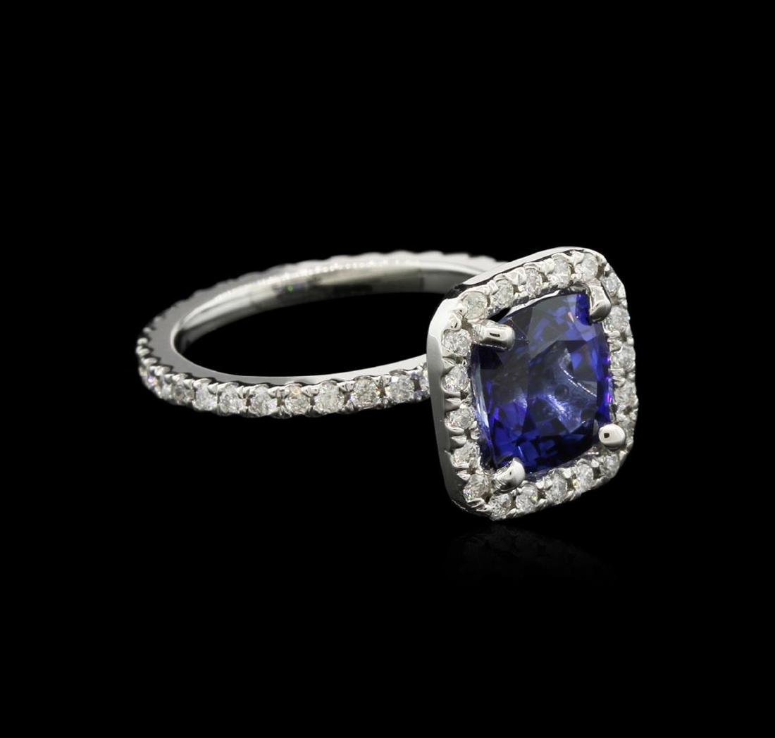 2.80 ctw Blue Sapphire and Diamond Ring - 14KT White