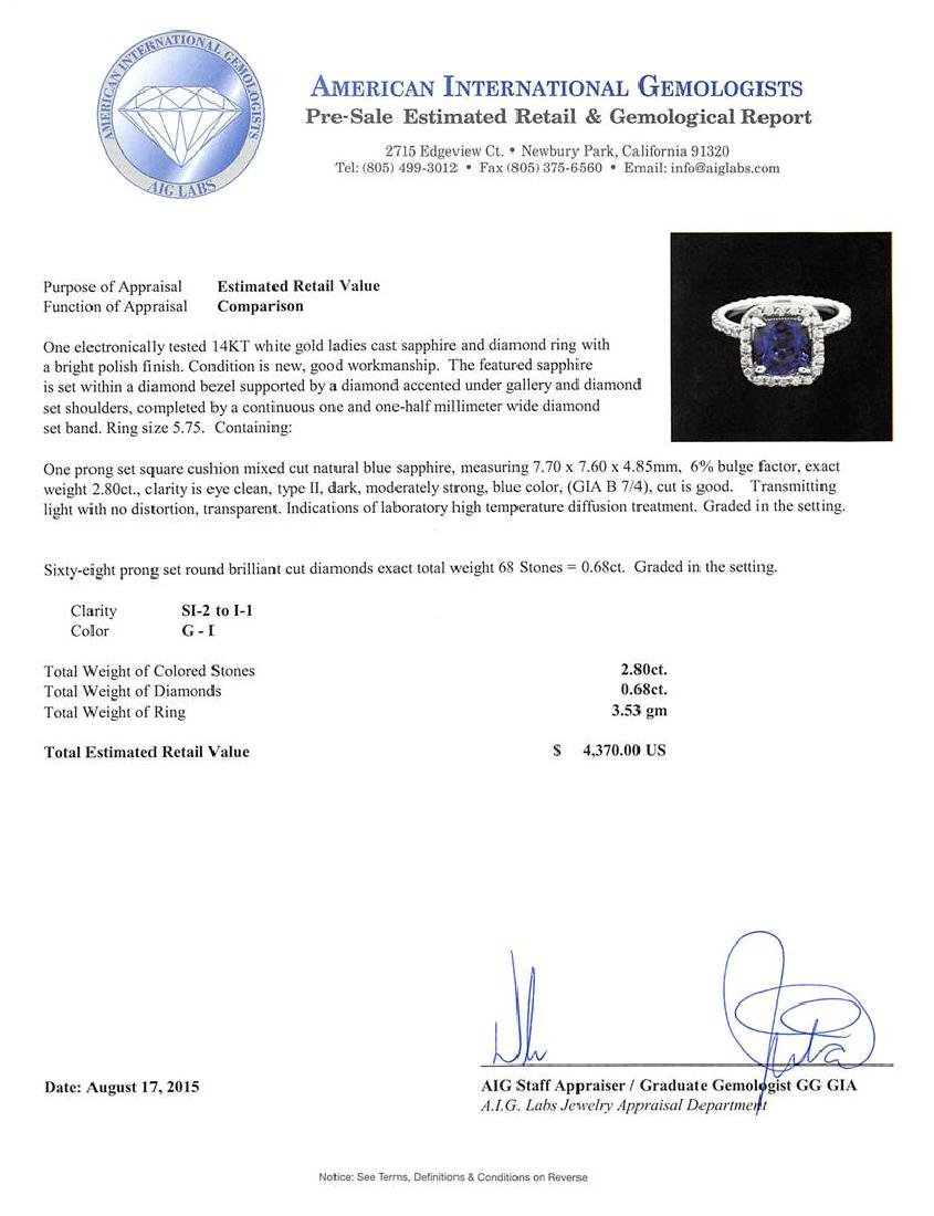 2.80 ctw Blue Sapphire and Diamond Ring - 14KT White - 3