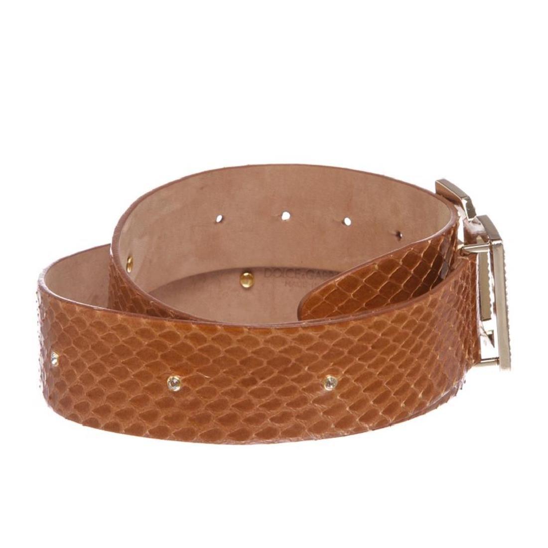 Dolce & Gabbana Brown Snakeskin Rhinestone Buckle Belt - 2