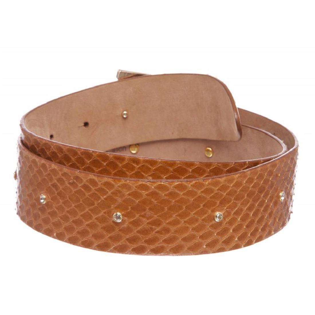 Dolce & Gabbana Brown Snakeskin Rhinestone Buckle Belt - 4