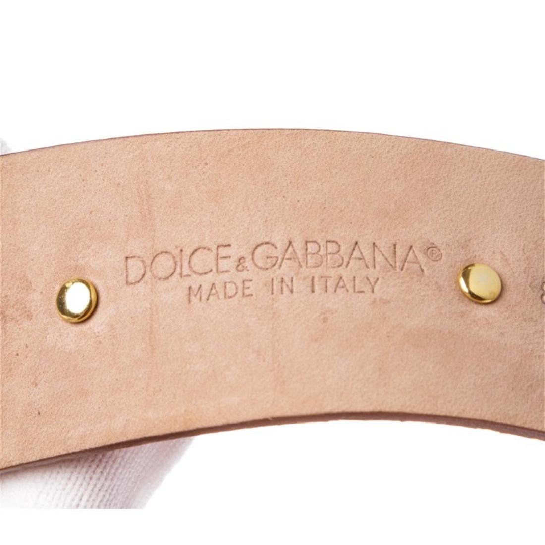 Dolce & Gabbana Brown Snakeskin Rhinestone Buckle Belt - 6