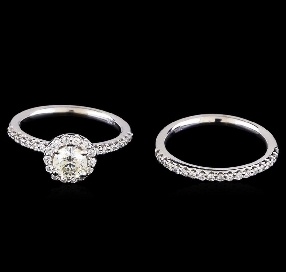1.15 ctw Diamond Wedding Ring Set - 14KT White Gold - 2