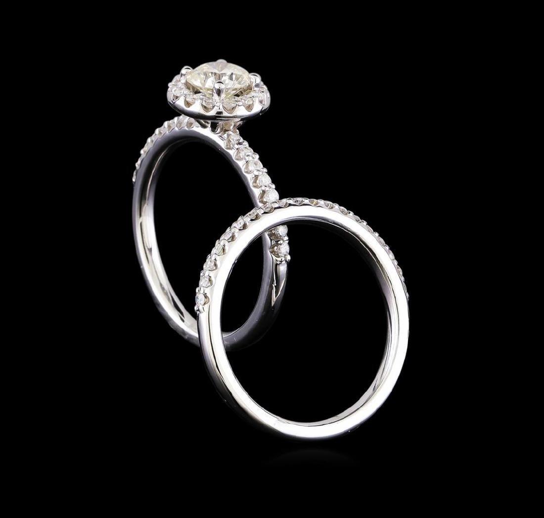 1.15 ctw Diamond Wedding Ring Set - 14KT White Gold - 3