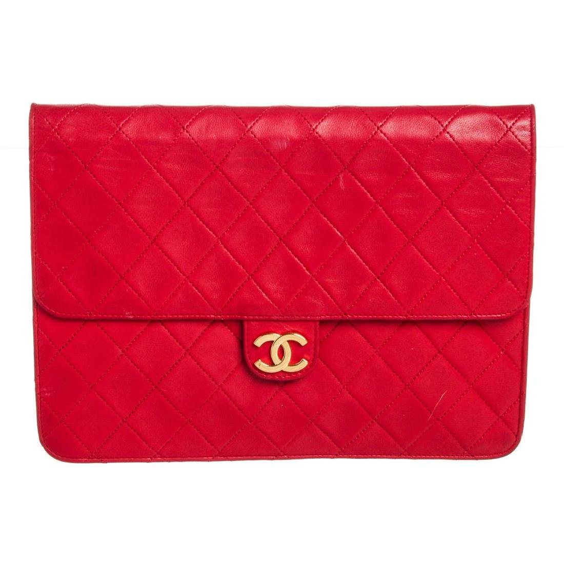 Chanel Red Quilted Lambskin Leather Flap Shoulder