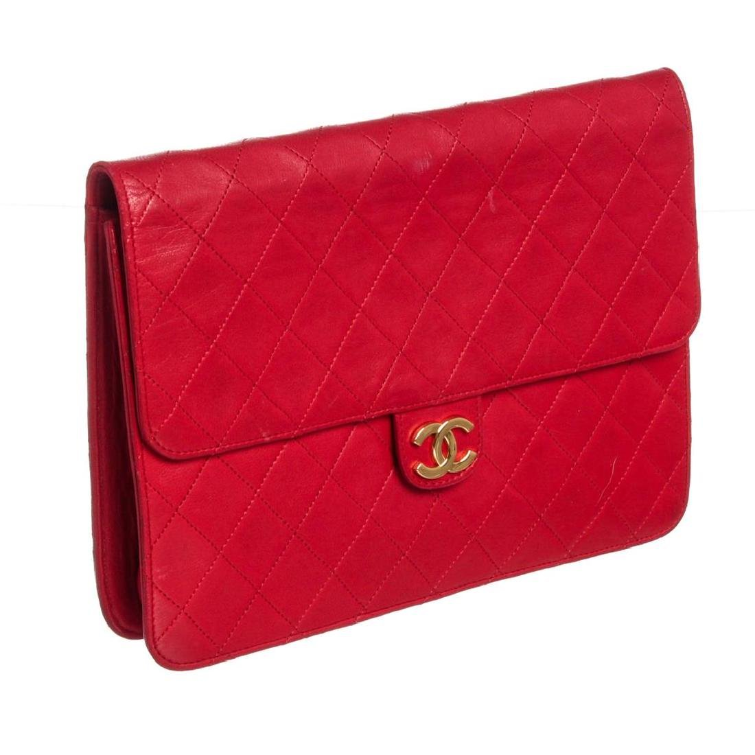 Chanel Red Quilted Lambskin Leather Flap Shoulder - 2