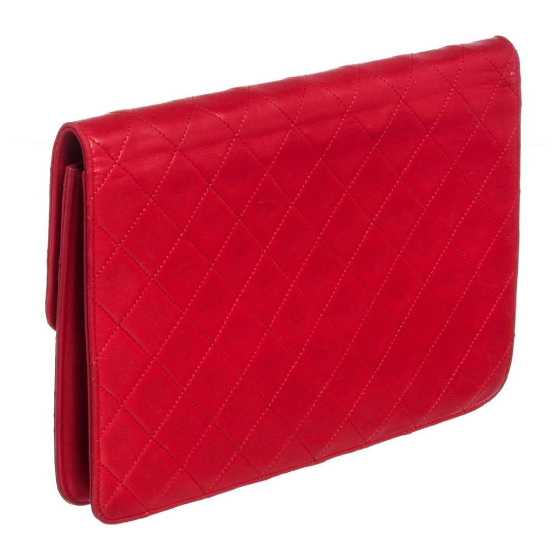 Chanel Red Quilted Lambskin Leather Flap Shoulder - 3