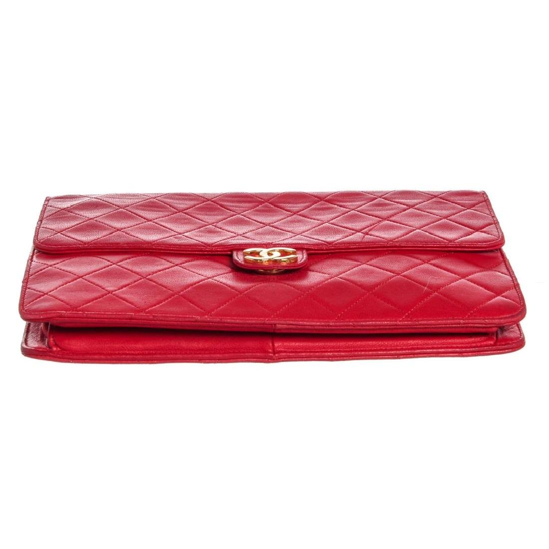 Chanel Red Quilted Lambskin Leather Flap Shoulder - 4