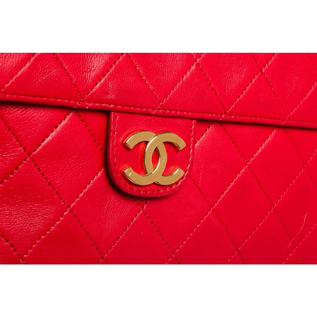 Chanel Red Quilted Lambskin Leather Flap Shoulder - 5