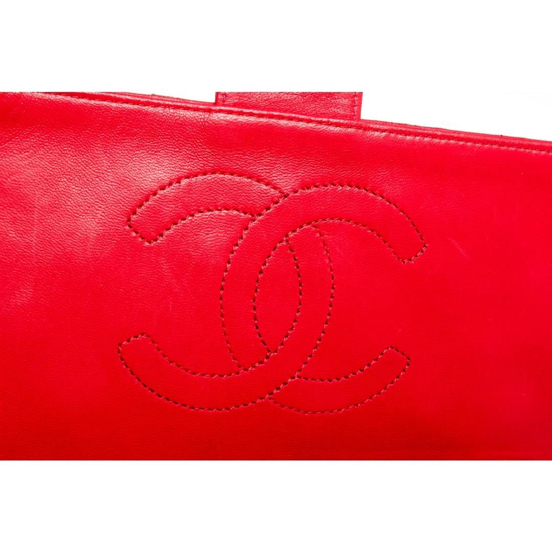 Chanel Red Quilted Lambskin Leather Flap Shoulder - 7