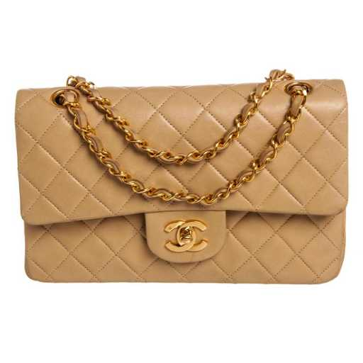 7fd8007872ff Chanel Vintage Beige Quilted Lambskin Leather Small