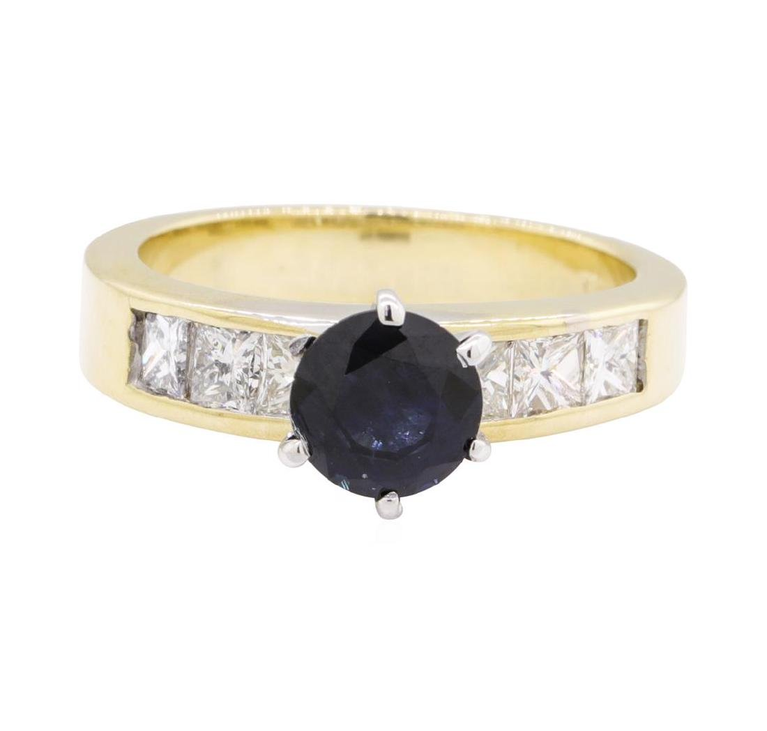 1.33 ctw Sapphire and Diamond Ring - 14KT Yellow Gold - 2