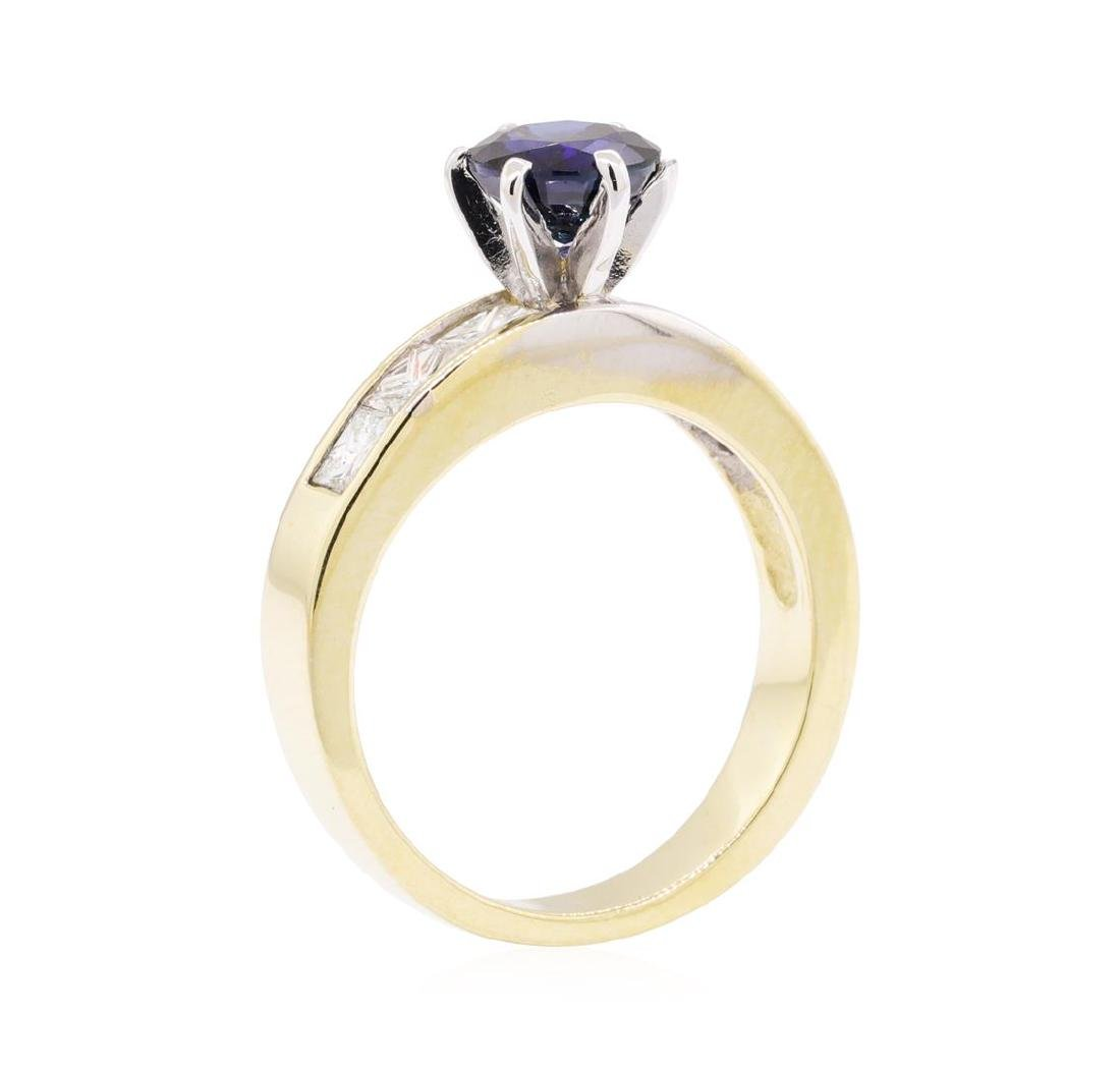1.33 ctw Sapphire and Diamond Ring - 14KT Yellow Gold - 4