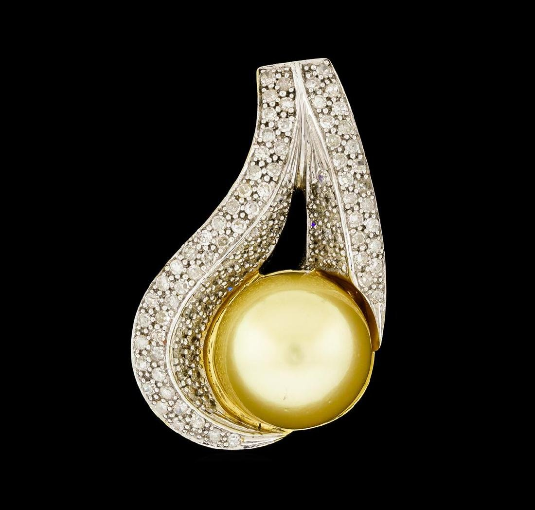 Pearl and Diamond Jewelry Suite - 14KT Yellow Gold With - 3