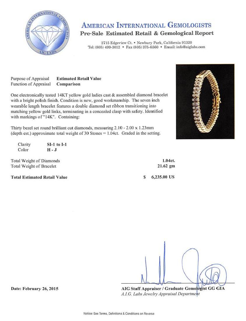 14KT Yellow Gold 1.04 ctw Diamond Bracelet - 4