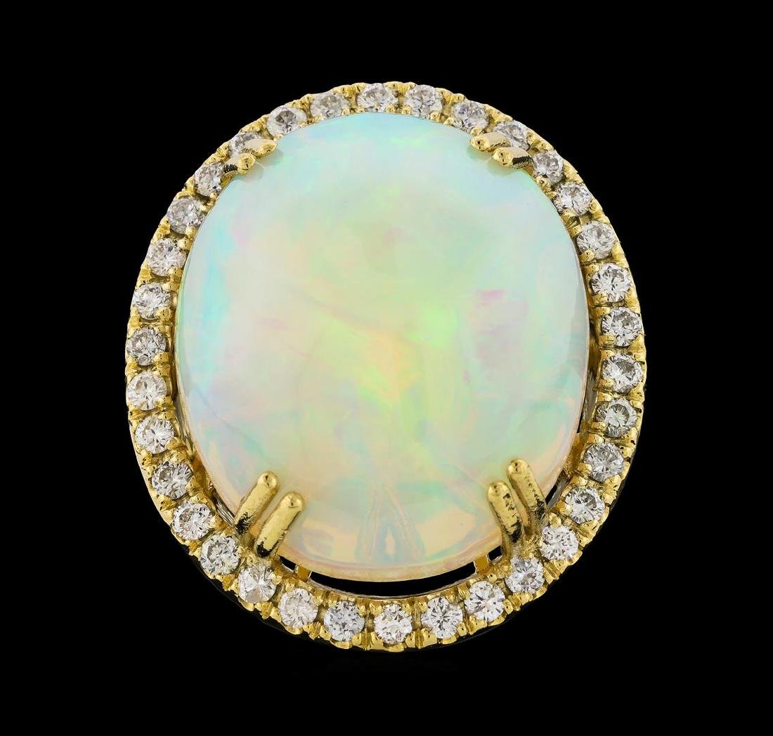 25.20 ctw Opal and Diamond Ring - 14KT Yellow Gold - 2