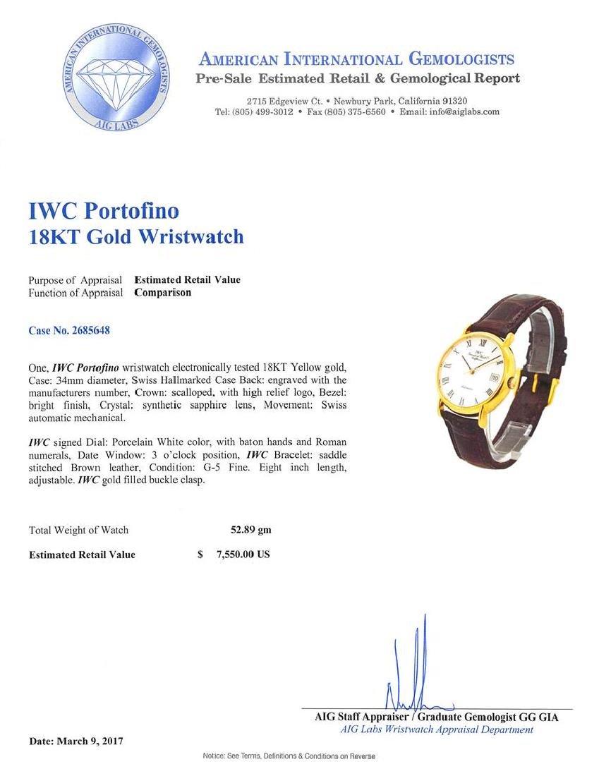 Iwc 18KT Yellow Gold Portofino Watch - 4