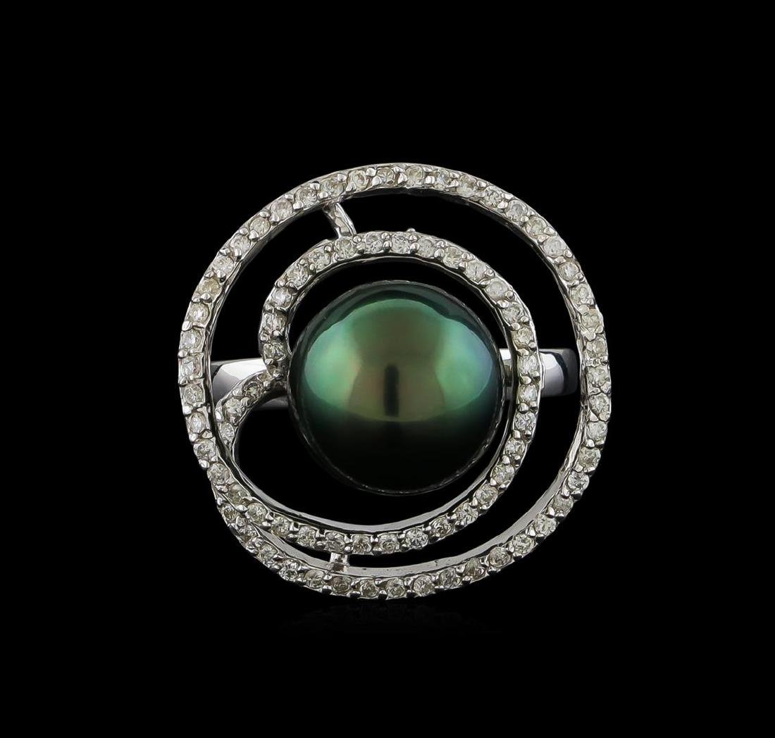 Pearl and Diamond Ring - 14KT White Gold - 2