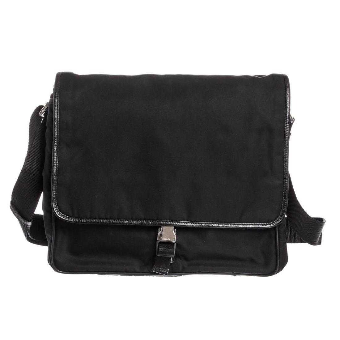 2e5d9bb1f3e4 Prada Black Nylon Leather Trim Messenger Bag