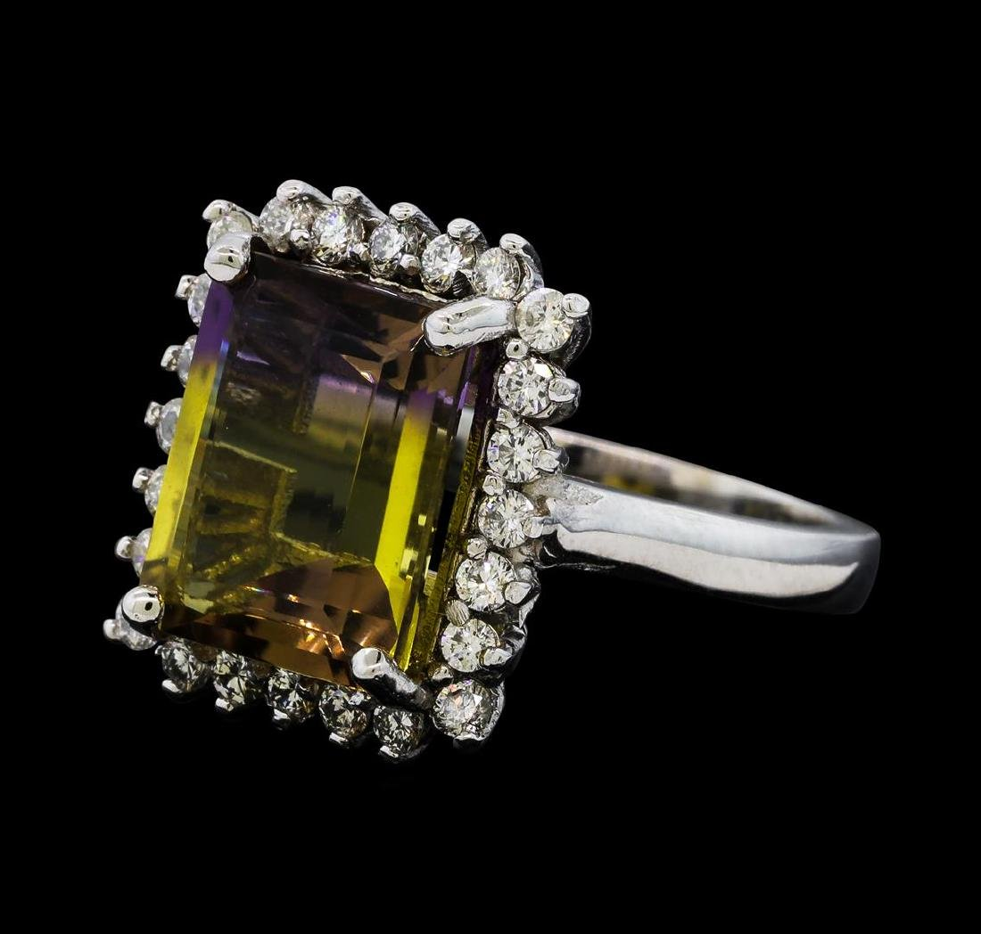 5.54 ctw Ametrine Quartz and Diamond Ring - 14KT White