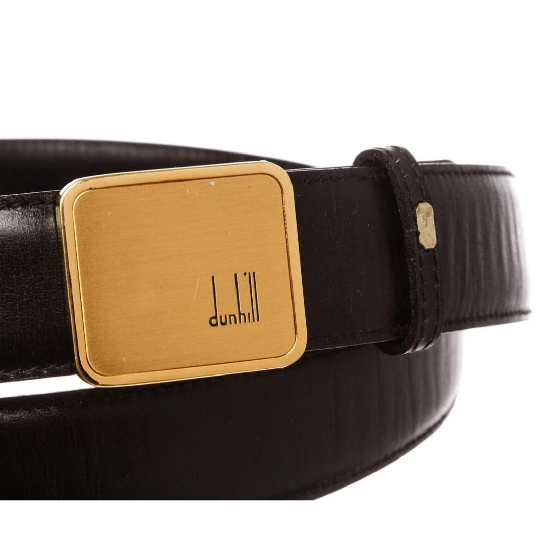 Dunhill Black Leather Gold Buckle Belt - 7