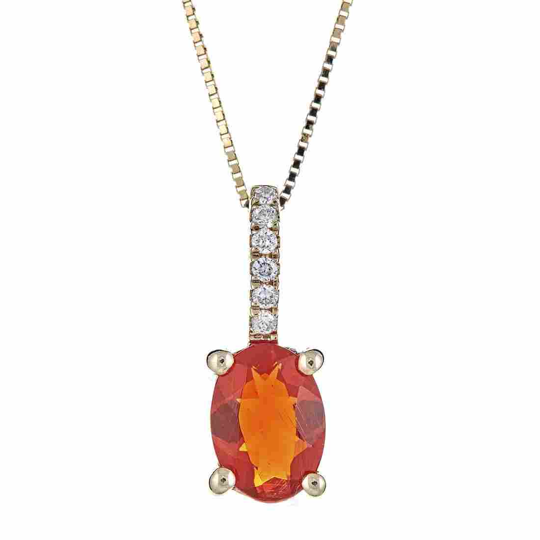0.53 ctw Fire Opal and Diamond Pendant - 14KT Yellow