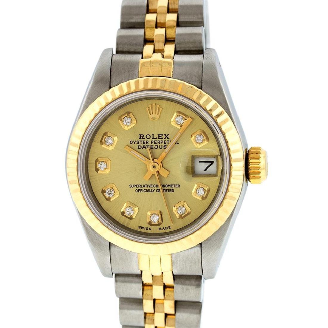 Rolex Ladies 2 Tone 14K Champagne Diamond 26MM Datejust