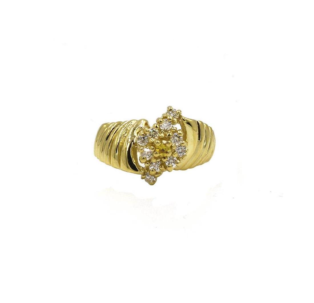 0.25 ctw Diamond Cocktail Ring - 14KT Yellow Gold
