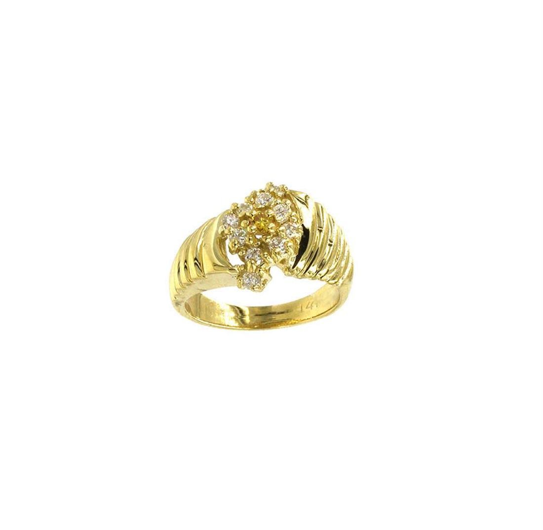 0.25 ctw Diamond Cocktail Ring - 14KT Yellow Gold - 2