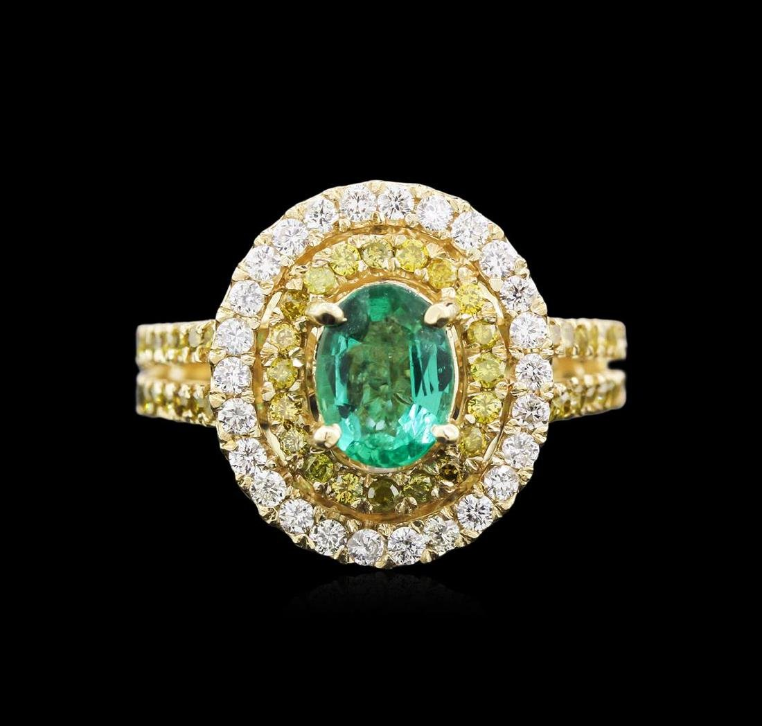 0.88 ctw Emerald and Diamond Ring - 14KT Yellow Gold - 2